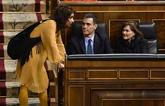 El presidente del Gobierno, Pedro Sánchez, la vicepresidenta del...