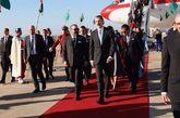 El Rey Felipe VI, a su llegada al aeropuerto de Rabat, donde fue...