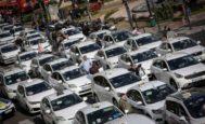 Protesta de taxistas en Valencia el pasado mes de diciembre.