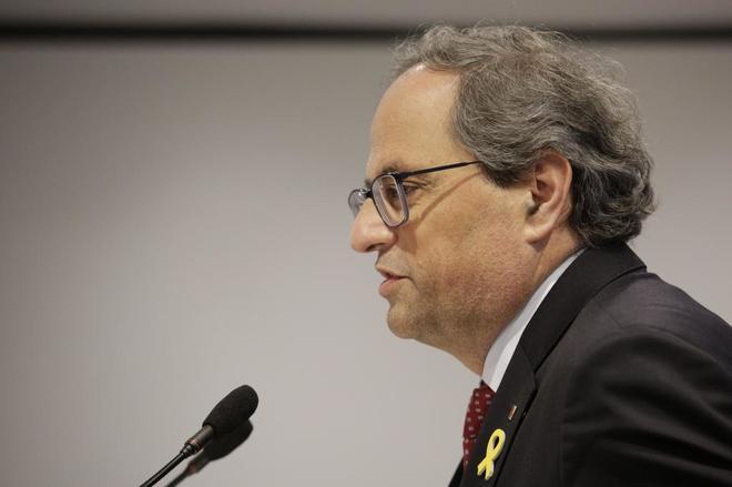 El presidente de la Generalitat, Quim Torra, durante su intervención...