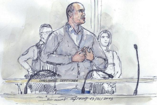 Boceto de Christophe Dettinger, el acusado, durante su juicio en París.