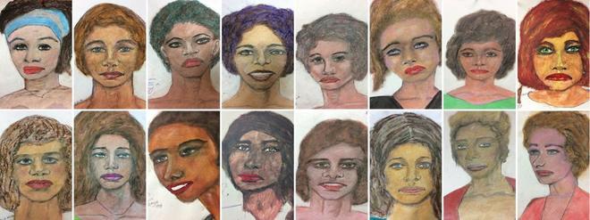 16 dibujos del presunto asesino en serie Samuel Little, basados en sus...