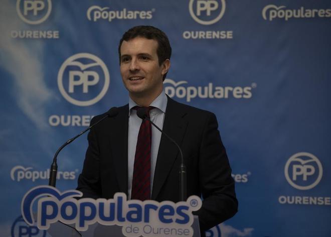 El presidente del PP, Pablo Casado, en un acto con 'populares' en Orense
