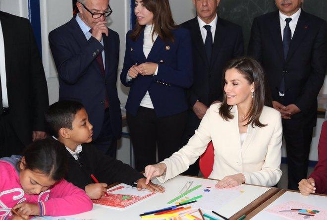 La Reina Letizia, en la Escuela de Segunda Oportunidad de Salé, en...