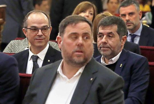 El líder de ERC, Oriol Junqueras, durante la primera jornada del juicio a los líderes del 1-O