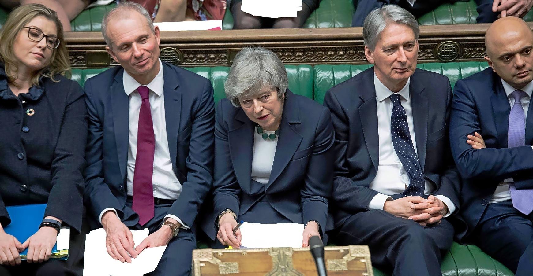 La 'premier' británica, Theresa May, en el Parlamento británico en Londres.