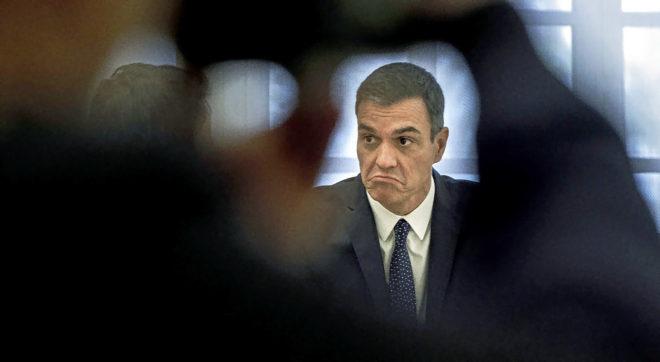 El presidente del Gobierno, Pedro Sánchez durante la visita del...