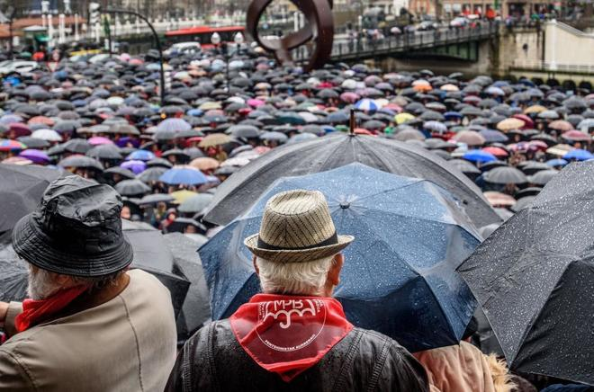 Concentración de pensionistas vascos el pasado lunes en Bilbao,