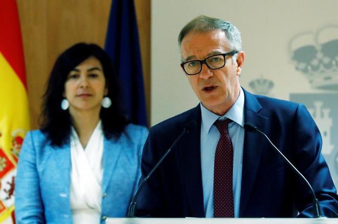 El ministro de Cultura José Guirao, y la Secretaria de Estado de Deportes María José <HIT>Rienda</HIT>, este jueves.
