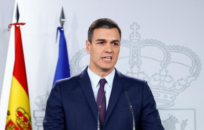 Pedro Sánchez, durante el anuncio de adelanto de las elecciones.