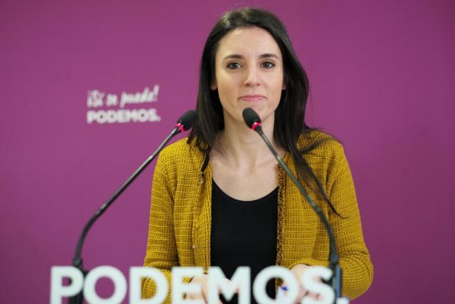 Irene Montero, portavoz de Unidos Podemos en el Congreso, en rueda de prensa.