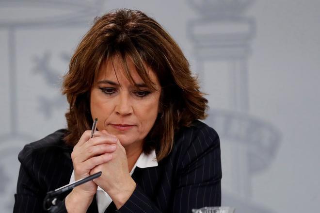 La ministra de Justicia, Dolores Delgado, esta mañana en La Moncloa.