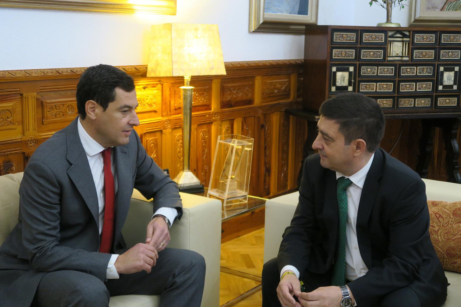 Moreno Bonilla y Francisco Reyes en la reunión mantenida en la Diputación de Jaén.