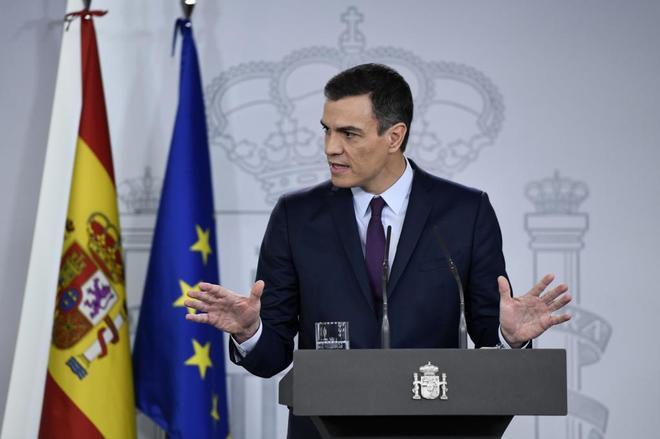 Pedro Sánchez, ayer, en La Moncloa.