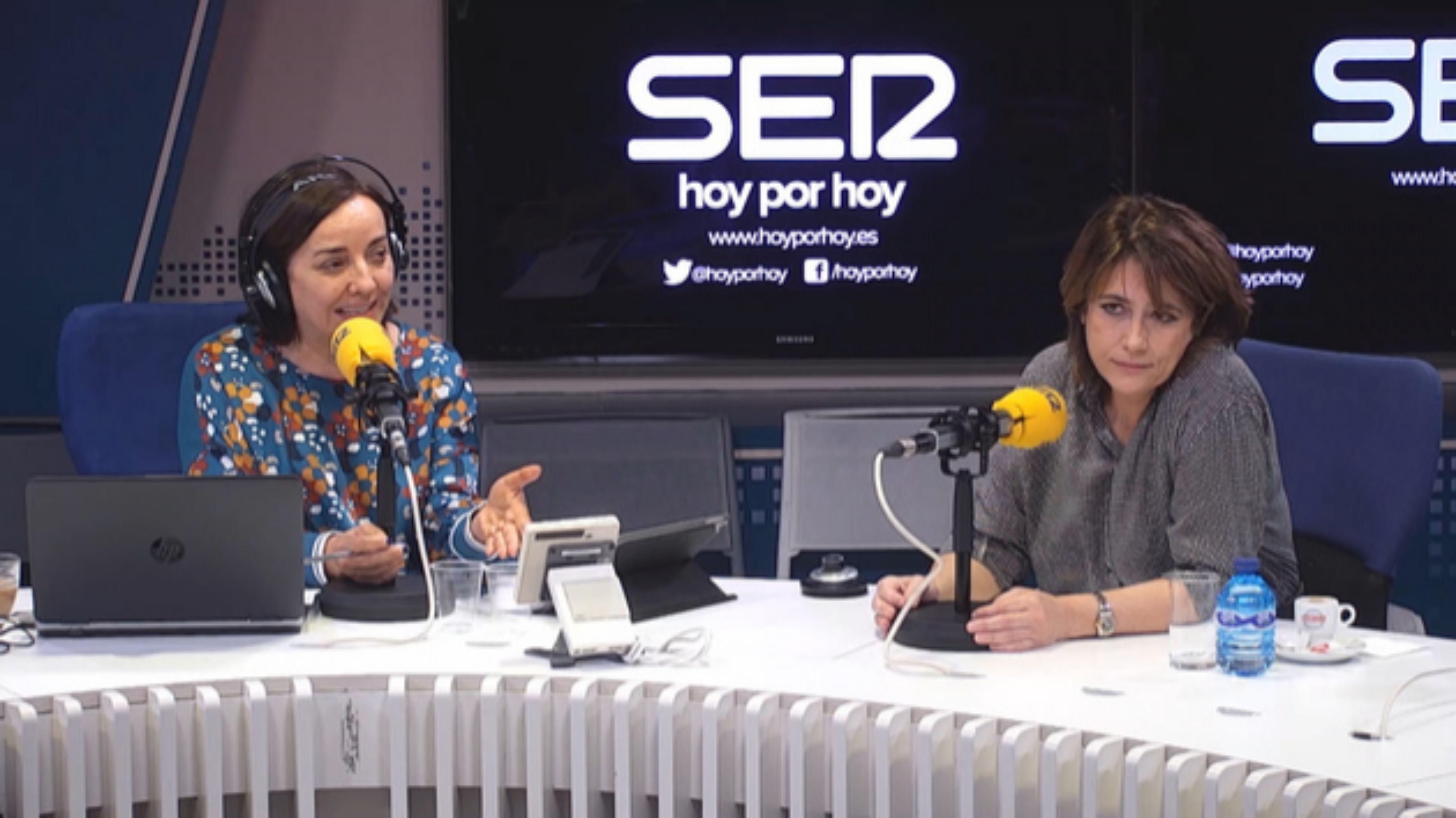 """La ministra de Justicia, Dolores Delgado, con Pepa Bueno, cuando habló de la """"derecha trifálica""""."""