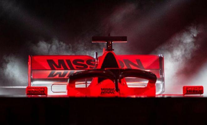 El logo de Mission Winnow, en el SF90, durante la presentación en Maranello.