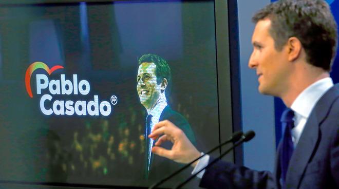 El líder del PP, Pablo Casado, en rueda de prensa.