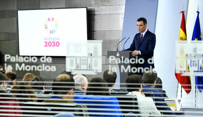 Pedro Sánchez, en la rueda de prensa en la que anunció el adelanto electoral.
