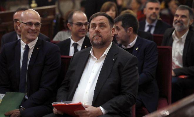El líder de ERC, Oriol Junqueras, en el banquillo del Tribunal Supremo.