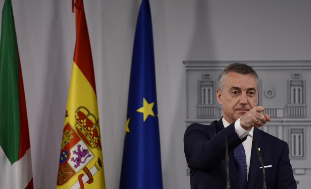 El lehendakari Iñigo Urkullu en una comparecencia en La Moncloa tras reunirse con Sánchez.