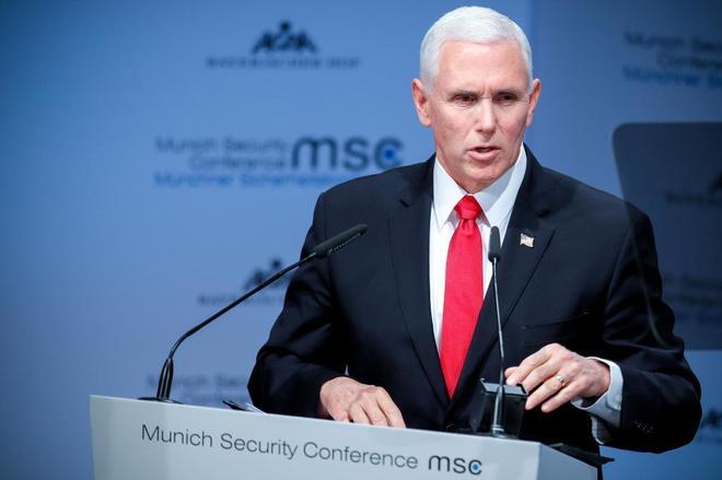 El vicepresidente de EEUU, Mike Pence, durante su discurso en Múnich.