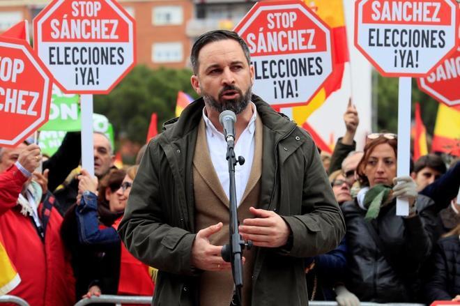 El líder de Vox, Santiago Abascal, durante la pasada manifestación en Colón.