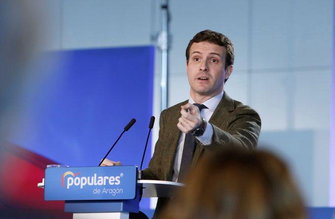 Pablo Casado, durante la clausura de la Convención de Economía y Empleo del PP en Zaragoza.