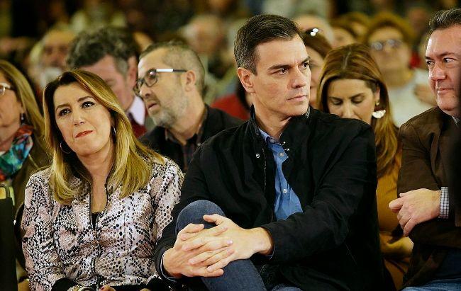 Susana Díaz y Pedro Sánchez, durante el acto del PSOE en Sevilla.
