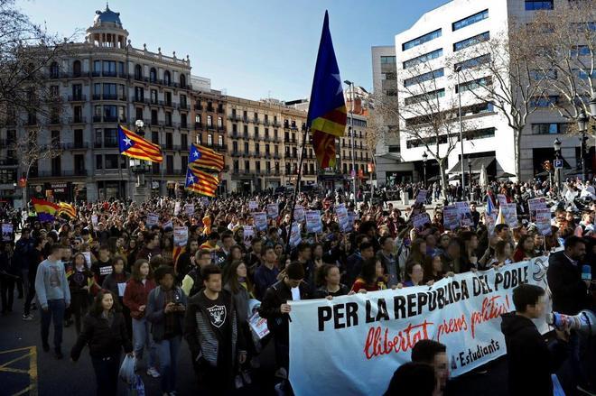 Manifestación de estudiantes por la independencia en Barcelona en una imagen de archivo