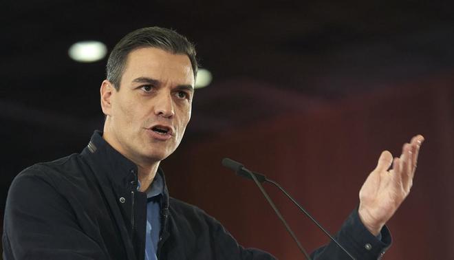 Pedro Sánchez, el sábado, durante un acto de precampaña del PSOE en Sevilla.