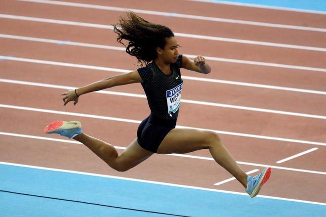 María Vicente, durante la competición de triple salto, en el pasado meeting de Madrid.