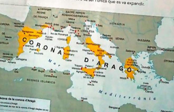 Mapa de la expansión de la Corona de Aragón que abarca toda Grecia, incluida la parte bizantina, cuando sólo fueron posesiones Atenas y Neopatria.