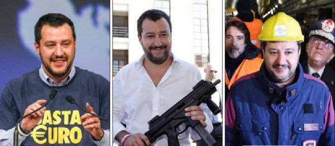 Salvini con una de sus camisetas con mensaje; con un arma; y con casco en las obras del AVE.