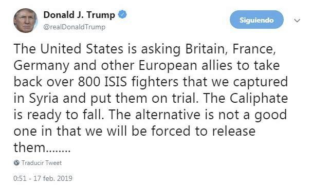 Tuit en el que Trump exige a Alemania, Reino Unido y Francia que se...