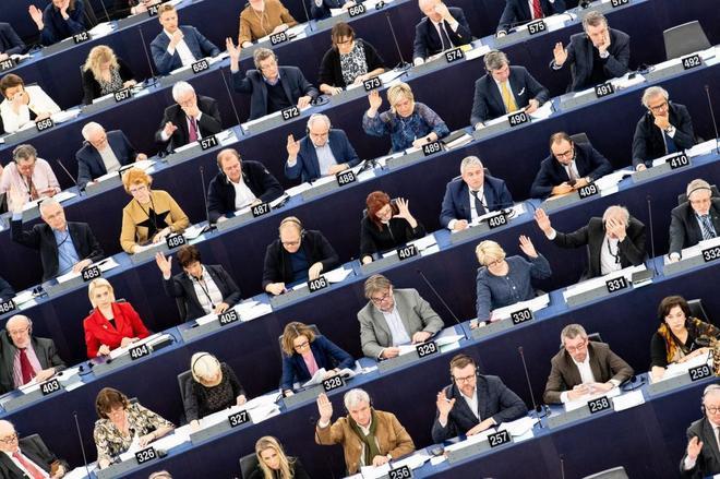 Miembros del Parlamento Europeo participan en una sesión en la sede de Estrasburgo, la pasada semana.