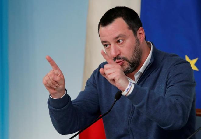 El primer Ministro italiano Matteo Salvini durante una conferencia en Roma.