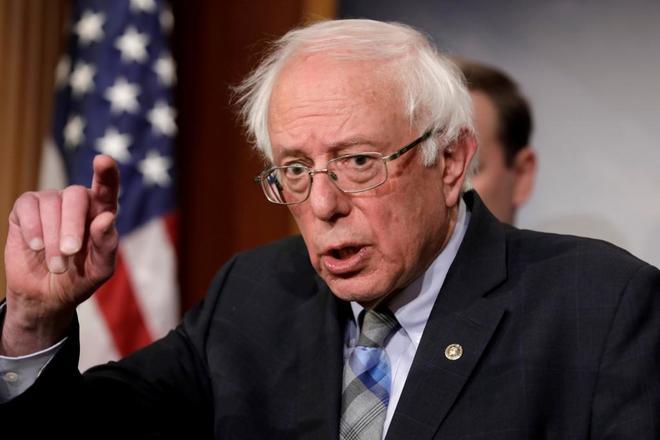 El senador Bernie Sanders, durante una rueda de prensa en Washington, el pasado enero.