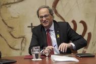 El president Quim <HIT>Torra</HIT> en la reunión del govern Palau de Generalitat.