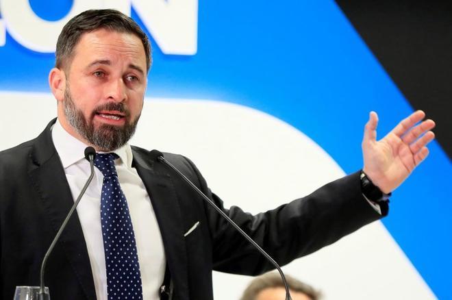 Santiago Abascal, presidente de Vox, durante un acto celebrado el...