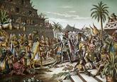 Recreación pictórica del encuentro entre Hernán Cortés y...