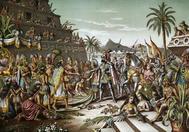 Recreación pictórica del encuentro entre Hernán Cortés y Moctezuma.