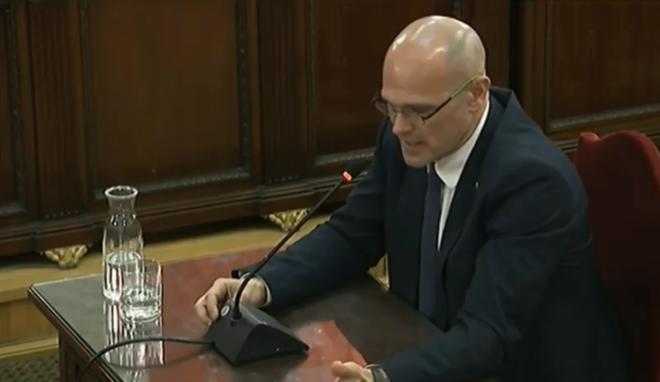 El ex 'conseller' Raül Romeva, durante su declaración en el juicio del 'procés'.