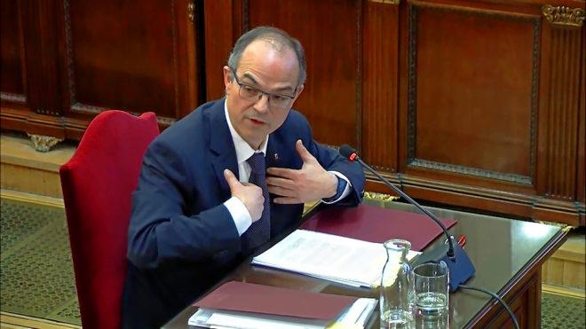 El acusado Jordi Turull, declarando ayer ante el tribunal en el juicio del 'procés'.