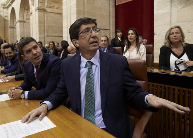El vicepresidente de la Junta, Juan Marín, en el Parlamento andaluz.