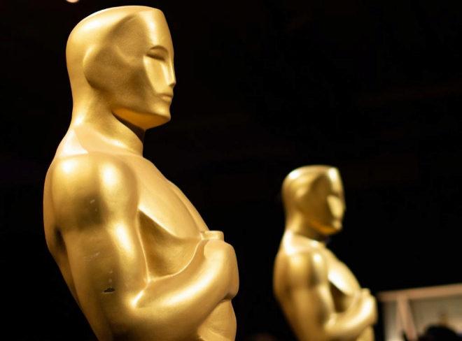 Estatuas del galardón de los Premios Oscar en una de las fiestas...