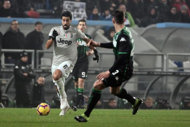 Sami Khedira, durante el partido de la Serie A que enfrentó a la Juventus con el Sassuolo.