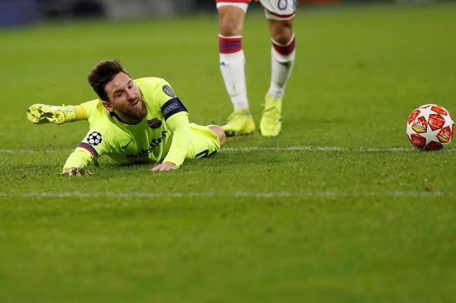 Leo Messi, el pasado martes en el empate del Barcelona en Lyon.