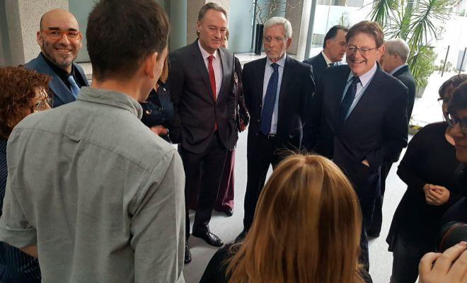 El presidente de la Generalitat, Ximo Puig, con los ex presidente Lerma y Alberto Fabra, ayer,  en el Senado.