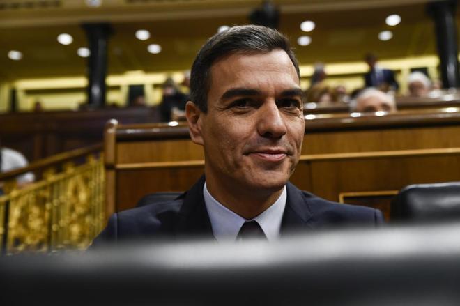 Pedro Sánchez, ayer, durante la sesión de control al Gobierno en el Congreso de los Diputados.