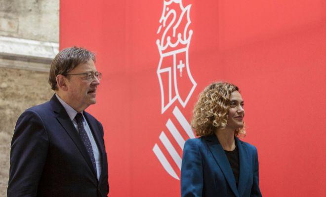 Ximo Puig junto a Meritxell Batet en la comisión bilateral celebrada en el Palau de la Generalitat.